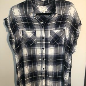 Flannel button up blouse.